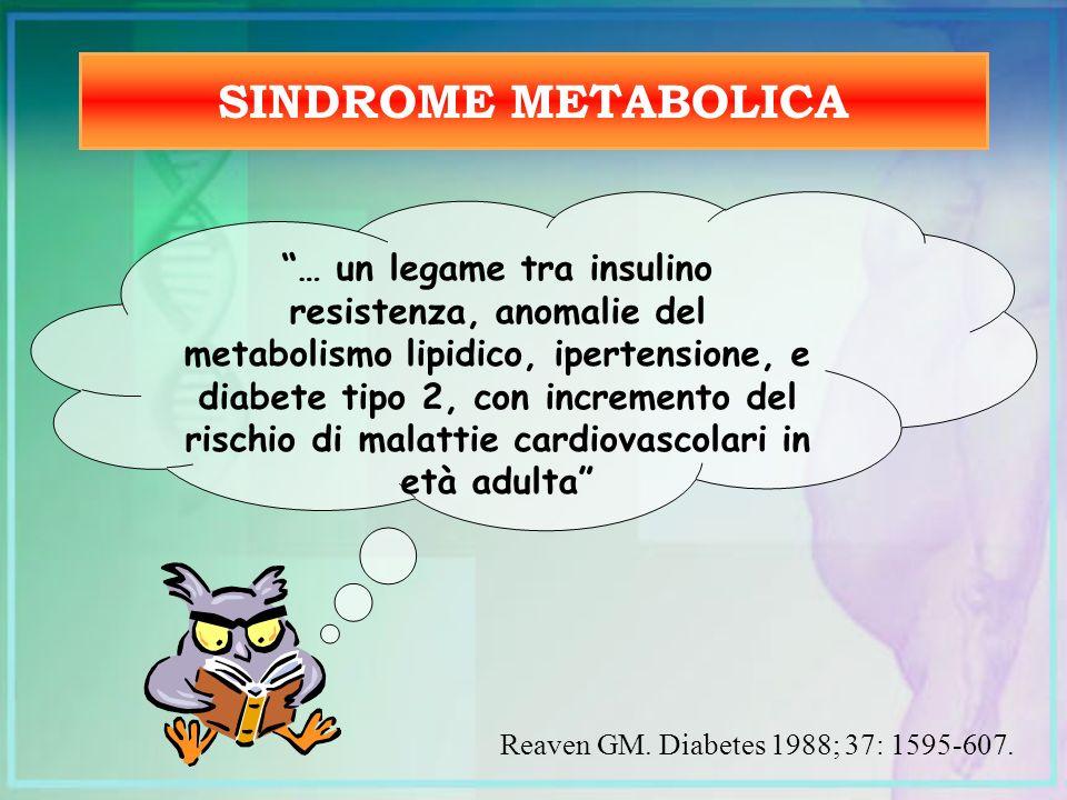 SINDROME METABOLICA … un legame tra insulino resistenza, anomalie del metabolismo lipidico, ipertensione, e diabete tipo 2, con incremento del rischio