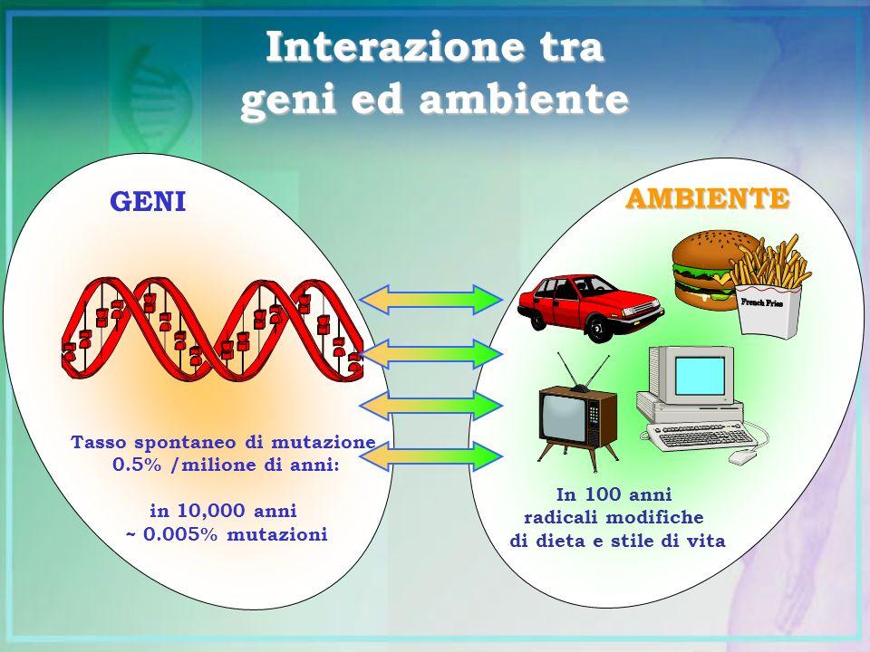 Interazione tra geni ed ambiente GENI Tasso spontaneo di mutazione 0.5% /milione di anni: in 10,000 anni ~ 0.005% mutazioni In 100 anni radicali modif