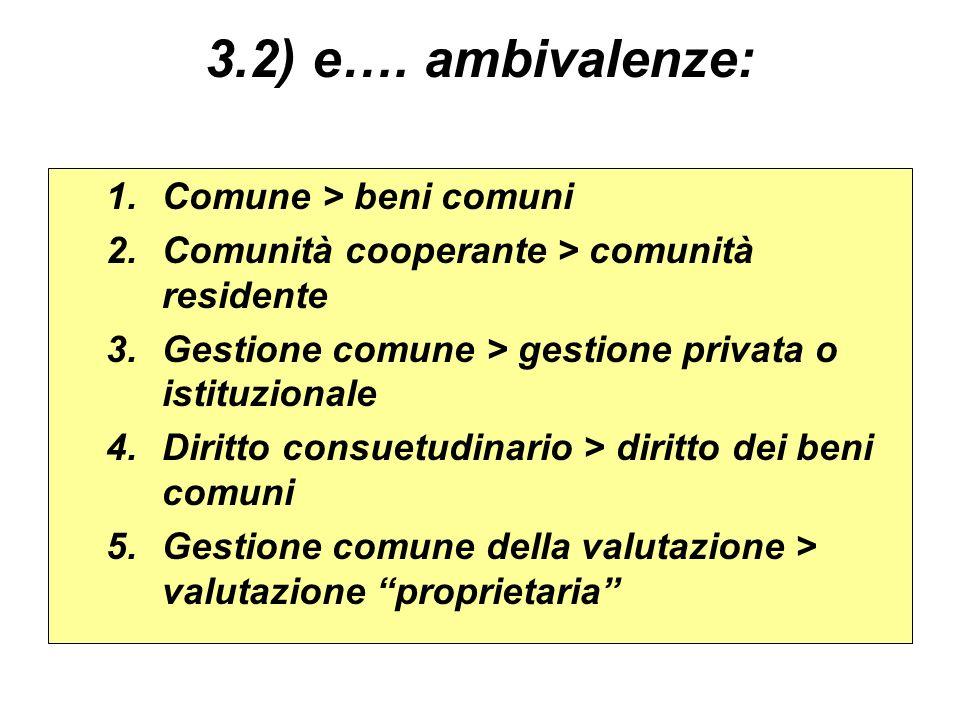 3.2) e…. ambivalenze: 1.Comune > beni comuni 2.Comunità cooperante > comunità residente 3.Gestione comune > gestione privata o istituzionale 4.Diritto