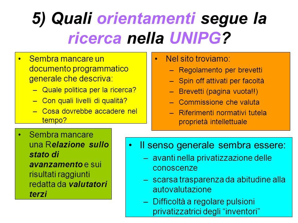 5) Quali orientamenti segue la ricerca nella UNIPG? Sembra mancare un documento programmatico generale che descriva: –Quale politica per la ricerca? –