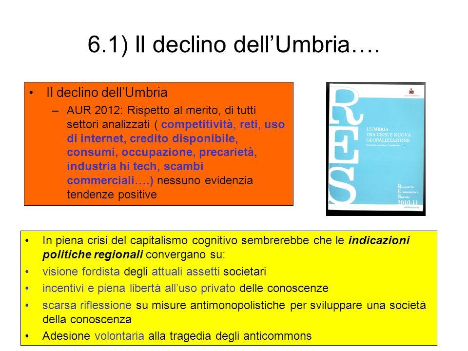 6.1) Il declino dellUmbria…. Il declino dellUmbria –AUR 2012: Rispetto al merito, di tutti settori analizzati ( competitività, reti, uso di internet,