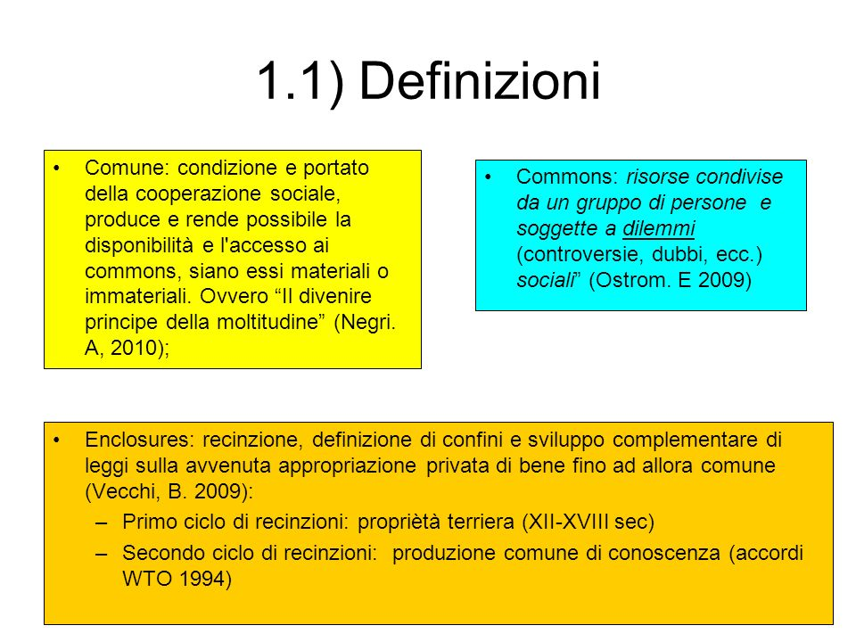 1.1) Definizioni Comune: condizione e portato della cooperazione sociale, produce e rende possibile la disponibilità e l'accesso ai commons, siano ess