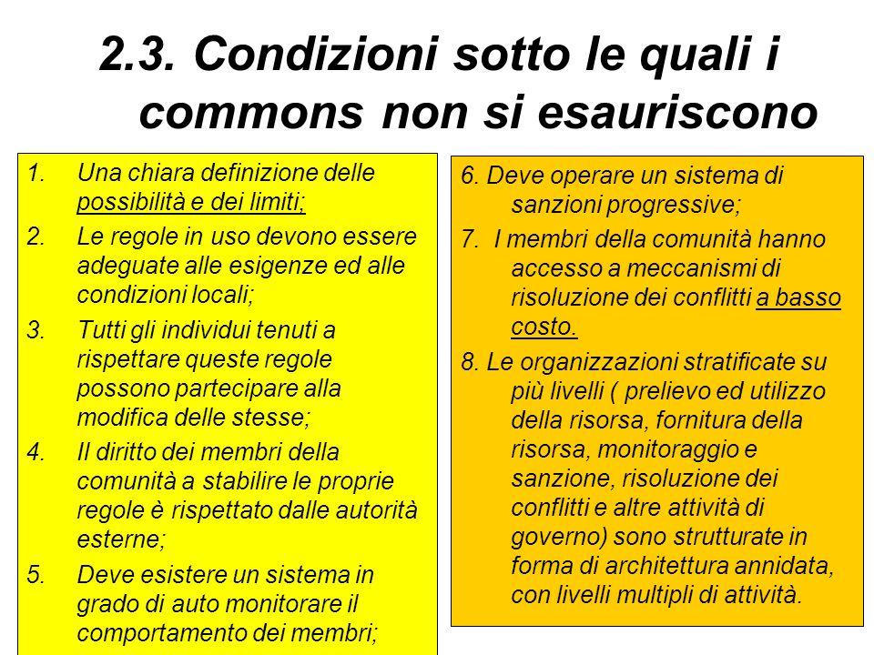 2.3. Condizioni sotto le quali i commons non si esauriscono 1.Una chiara definizione delle possibilità e dei limiti; 2.Le regole in uso devono essere