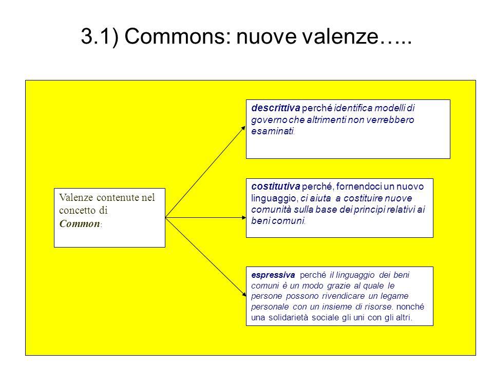 3.1) Commons: nuove valenze….. Valenze contenute nel concetto di Common : descrittiva perché identifica modelli di governo che altrimenti non verrebbe