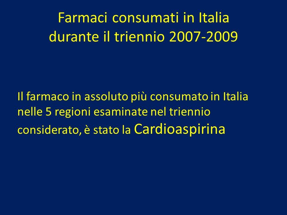 Farmaci consumati in Italia durante il triennio 2007-2009 Il farmaco in assoluto più consumato in Italia nelle 5 regioni esaminate nel triennio consid