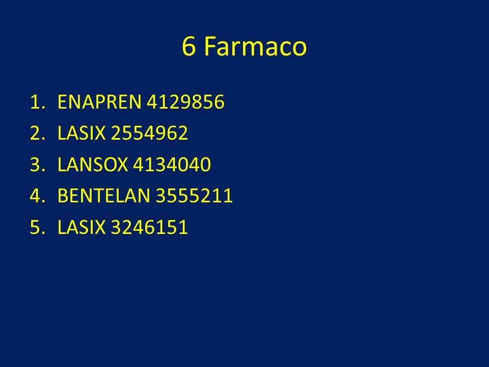 6 Farmaco 1.ENAPREN 4129856 2.LASIX 2554962 3.LANSOX 4134040 4.BENTELAN 3555211 5.LASIX 3246151