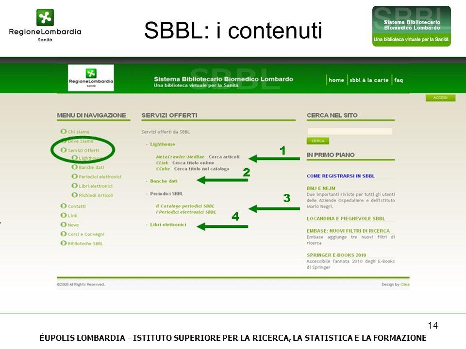 14 SBBL: i contenuti É UPOLIS LOMBARDIA - ISTITUTO SUPERIORE PER LA RICERCA, LA STATISTICA E LA FORMAZIONE 1 2 3 4