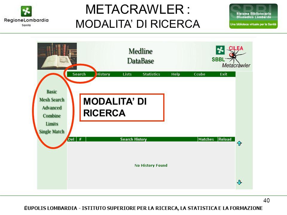 40 METACRAWLER : MODALITA DI RICERCA É UPOLIS LOMBARDIA - ISTITUTO SUPERIORE PER LA RICERCA, LA STATISTICA E LA FORMAZIONE MODALITA DI RICERCA