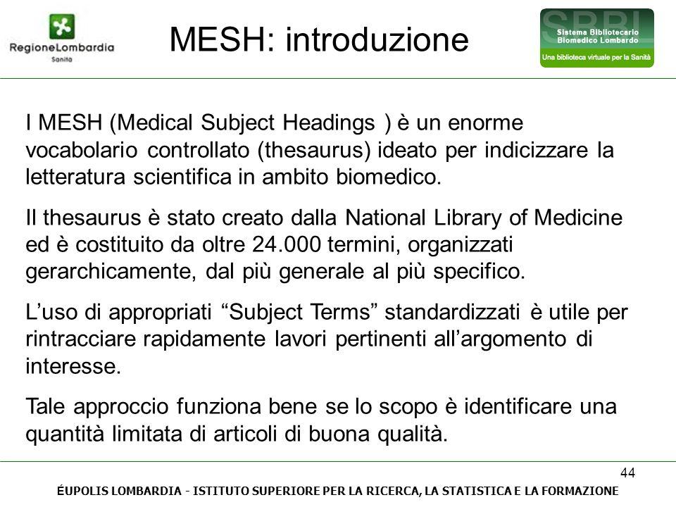 44 MESH: introduzione É UPOLIS LOMBARDIA - ISTITUTO SUPERIORE PER LA RICERCA, LA STATISTICA E LA FORMAZIONE I MESH (Medical Subject Headings ) è un en