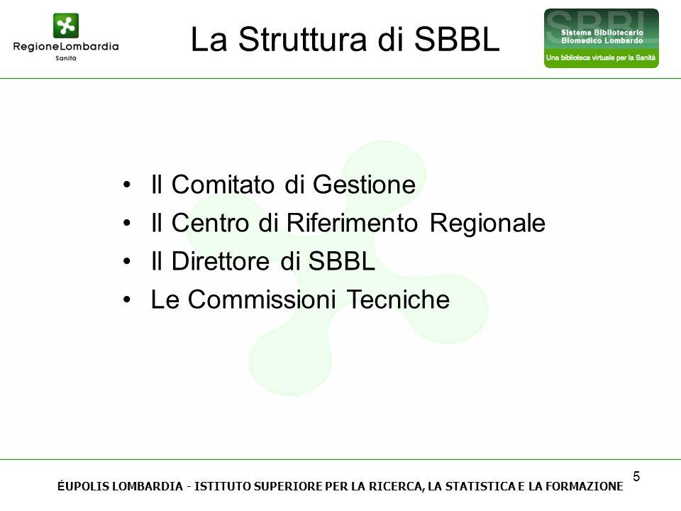 5 La Struttura di SBBL Il Comitato di Gestione Il Centro di Riferimento Regionale Il Direttore di SBBL Le Commissioni Tecniche É UPOLIS LOMBARDIA - IS