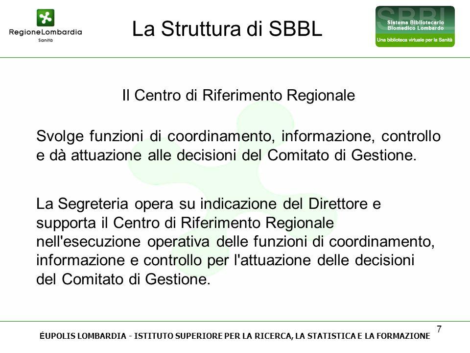 7 La Struttura di SBBL É UPOLIS LOMBARDIA - ISTITUTO SUPERIORE PER LA RICERCA, LA STATISTICA E LA FORMAZIONE Il Centro di Riferimento Regionale Svolge