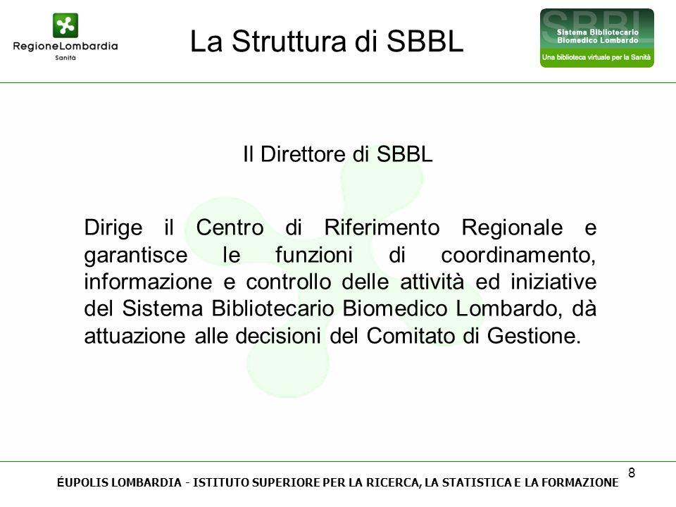 8 La Struttura di SBBL É UPOLIS LOMBARDIA - ISTITUTO SUPERIORE PER LA RICERCA, LA STATISTICA E LA FORMAZIONE Il Direttore di SBBL Dirige il Centro di