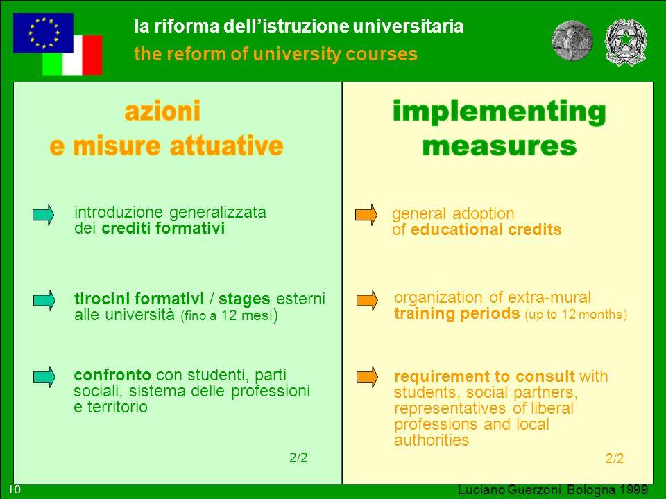 la riforma dellistruzione universitaria the reform of university courses Luciano Guerzoni, Bologna 1999 introduzione generalizzata dei crediti formati
