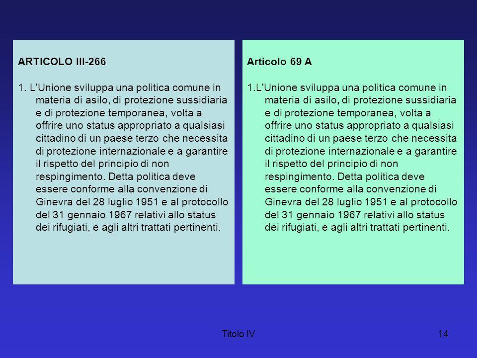 Titolo IV14 ARTICOLO III-266 1. L'Unione sviluppa una politica comune in materia di asilo, di protezione sussidiaria e di protezione temporanea, volta