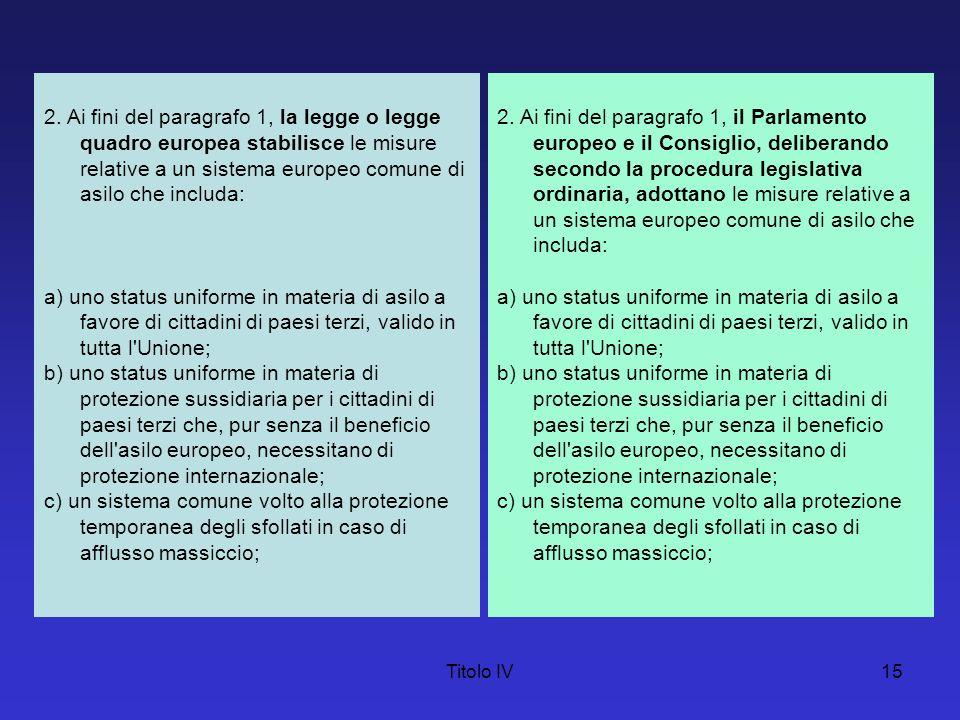 Titolo IV15 2. Ai fini del paragrafo 1, la legge o legge quadro europea stabilisce le misure relative a un sistema europeo comune di asilo che includa