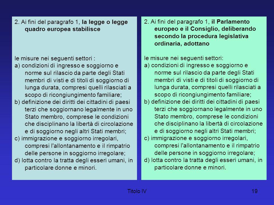 Titolo IV19 2. Ai fini del paragrafo 1, la legge o legge quadro europea stabilisce le misure nei seguenti settori : a) condizioni di ingresso e soggio