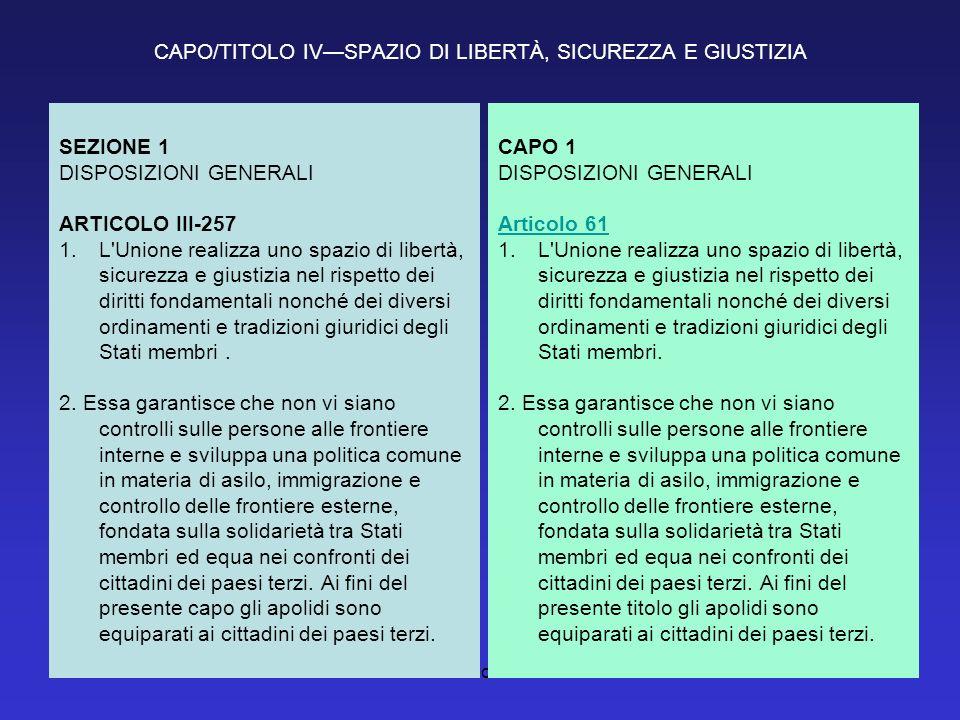 Titolo IV2 CAPO/TITOLO IVSPAZIO DI LIBERTÀ, SICUREZZA E GIUSTIZIA SEZIONE 1 DISPOSIZIONI GENERALI ARTICOLO III-257 1.L'Unione realizza uno spazio di l