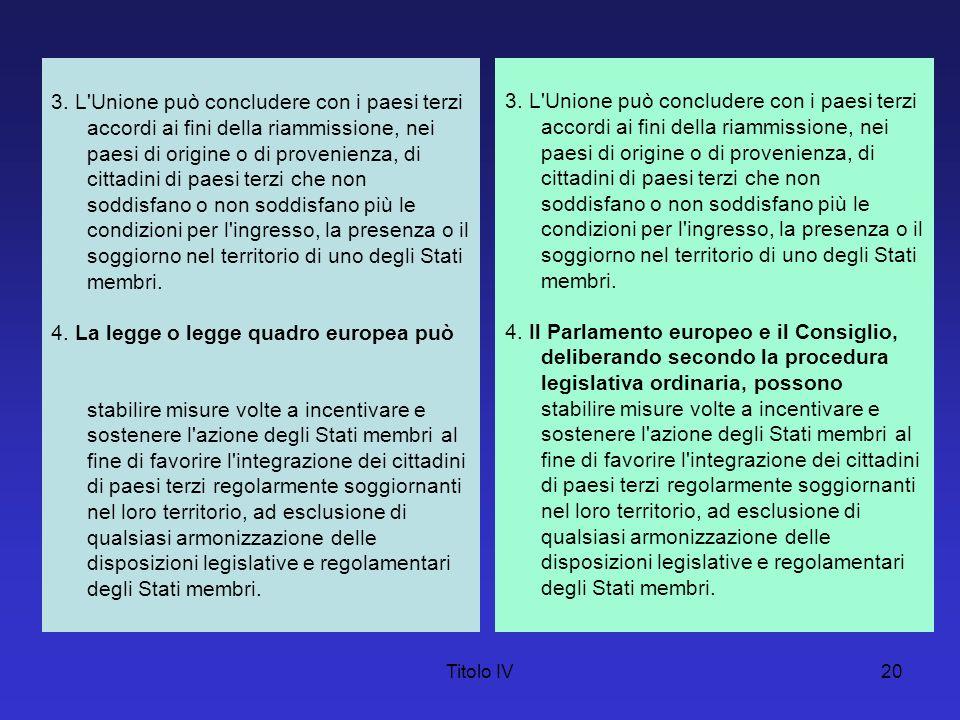 Titolo IV20 3. L'Unione può concludere con i paesi terzi accordi ai fini della riammissione, nei paesi di origine o di provenienza, di cittadini di pa