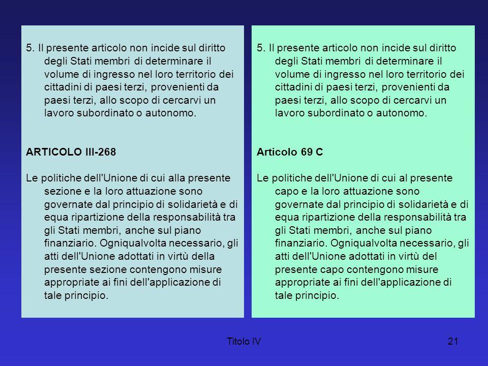 Titolo IV21 5. Il presente articolo non incide sul diritto degli Stati membri di determinare il volume di ingresso nel loro territorio dei cittadini d