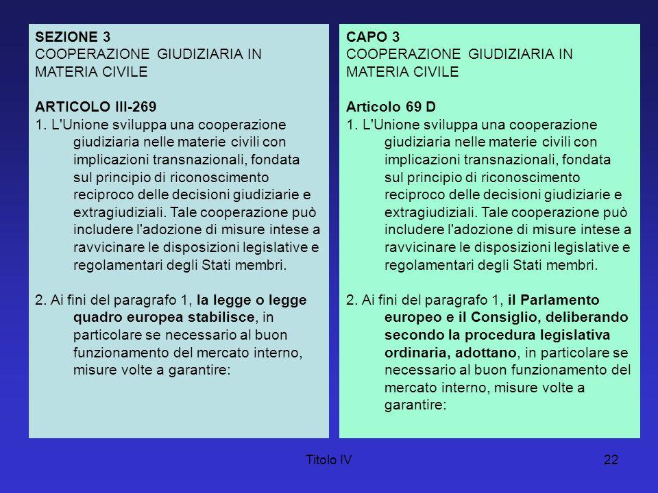 Titolo IV23 a) il riconoscimento reciproco tra gli Stati membri delle decisioni giudiziarie ed extragiudiziali e la loro esecuzione; b) la notificazione transnazionale degli atti giudiziari ed extragiudiziali; c) la compatibilità delle regole applicabili negli Stati membri ai conflitti di leggi e di giurisdizione; d) la cooperazione nell assunzione dei mezzi di prova; e) un accesso effettivo alla giustizia; f) l eliminazione degli ostacoli al corretto svolgimento dei procedimenti civili, se necessario promuovendo la compatibilità delle norme di procedura civile applicabili negli Stati membri; g) lo sviluppo di metodi alternativi per la risoluzione delle controversie; h) un sostegno alla formazione dei magistrati e degli operatori giudiziari.