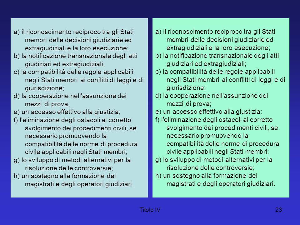 Titolo IV23 a) il riconoscimento reciproco tra gli Stati membri delle decisioni giudiziarie ed extragiudiziali e la loro esecuzione; b) la notificazio