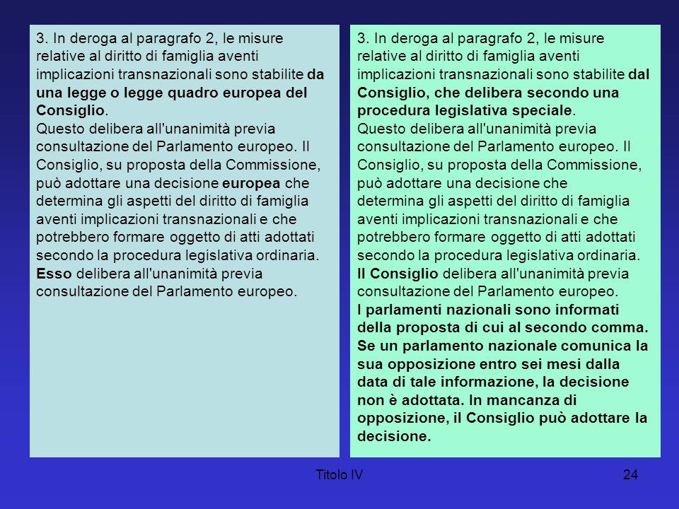 Titolo IV24 3. In deroga al paragrafo 2, le misure relative al diritto di famiglia aventi implicazioni transnazionali sono stabilite da una legge o le