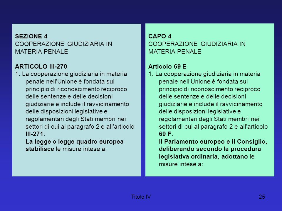 Titolo IV25 SEZIONE 4 COOPERAZIONE GIUDIZIARIA IN MATERIA PENALE ARTICOLO III-270 1. La cooperazione giudiziaria in materia penale nell'Unione è fonda