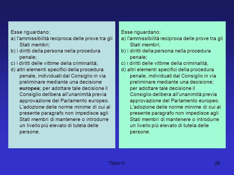 Titolo IV28 Esse riguardano: a) l'ammissibilità reciproca delle prove tra gli Stati membri; b) i diritti della persona nella procedura penale; c) i di