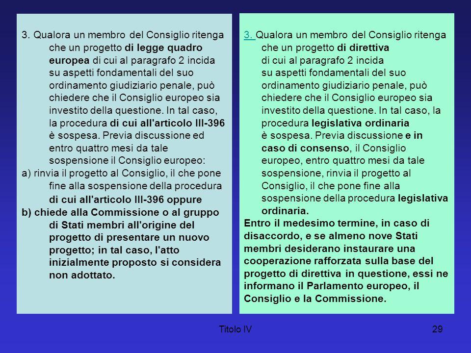 Titolo IV29 3. Qualora un membro del Consiglio ritenga che un progetto di legge quadro europea di cui al paragrafo 2 incida su aspetti fondamentali de