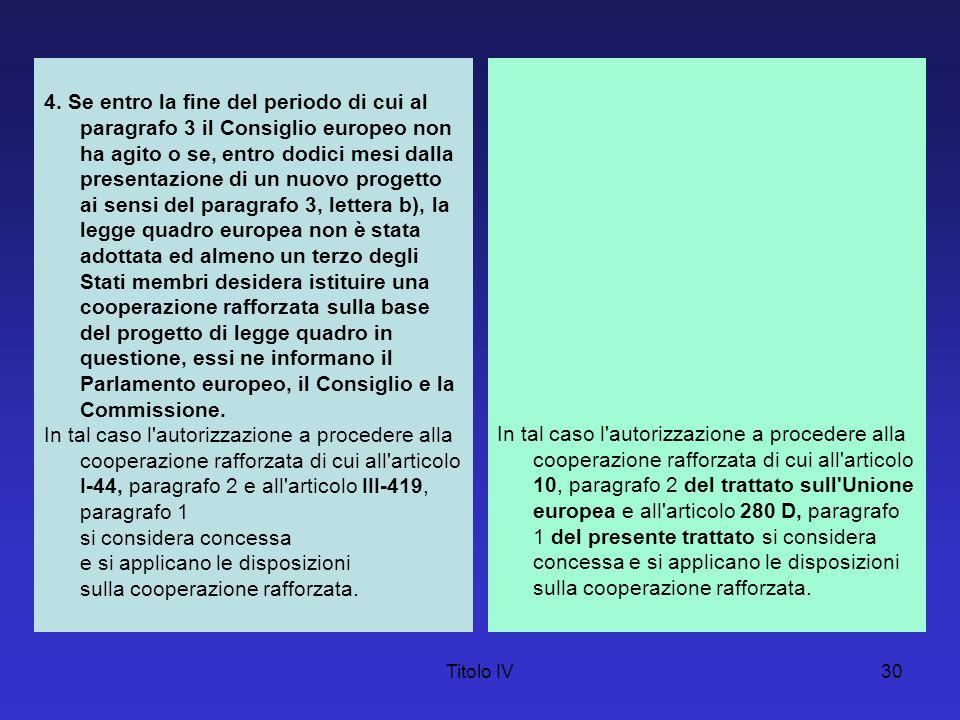Titolo IV30 4. Se entro la fine del periodo di cui al paragrafo 3 il Consiglio europeo non ha agito o se, entro dodici mesi dalla presentazione di un