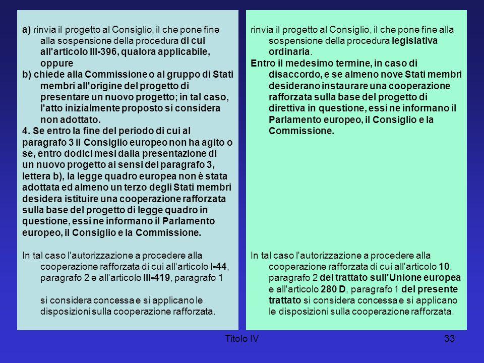 Titolo IV33 a) rinvia il progetto al Consiglio, il che pone fine alla sospensione della procedura di cui all'articolo III-396, qualora applicabile, op