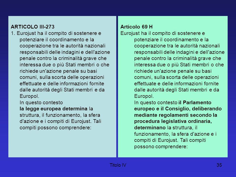 Titolo IV35 ARTICOLO III-273 1. Eurojust ha il compito di sostenere e potenziare il coordinamento e la cooperazione tra le autorità nazionali responsa