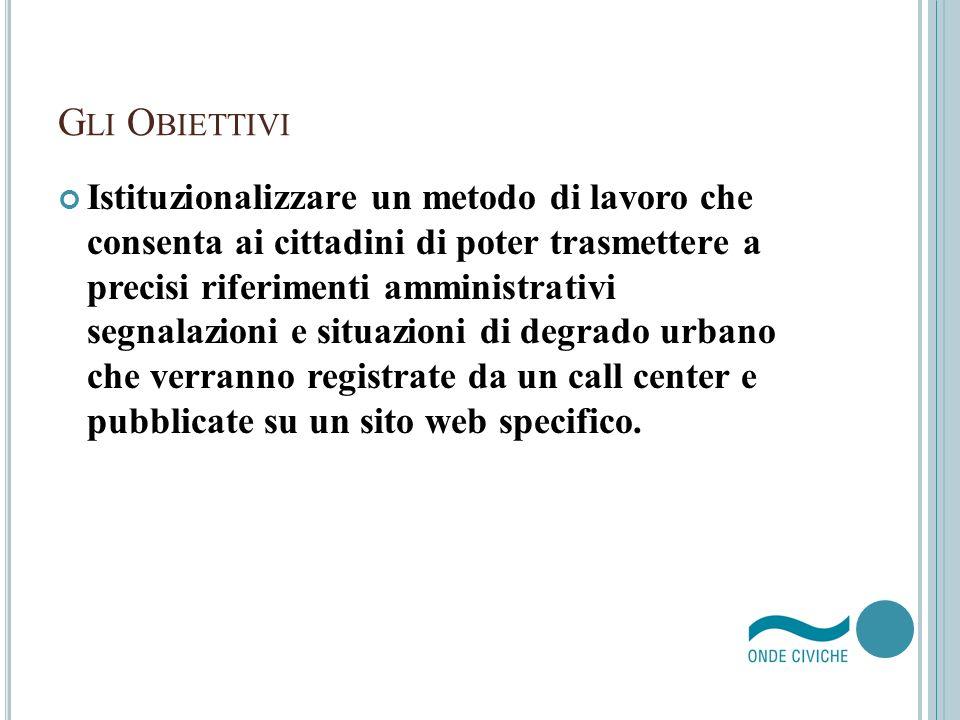 G LI O BIETTIVI Istituzionalizzare un metodo di lavoro che consenta ai cittadini di poter trasmettere a precisi riferimenti amministrativi segnalazion