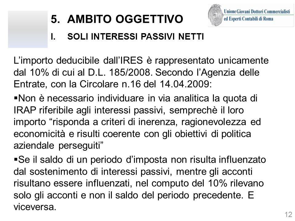5.AMBITO OGGETTIVO I.SOLI INTERESSI PASSIVI NETTI 12 Limporto deducibile dallIRES è rappresentato unicamente dal 10% di cui al D.L. 185/2008. Secondo
