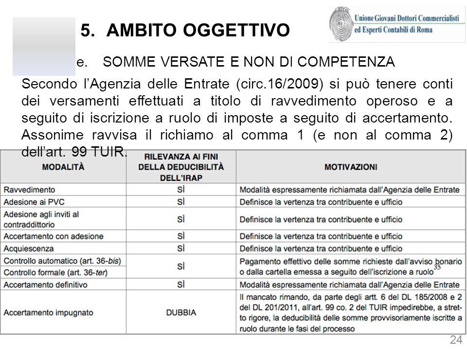 5.AMBITO OGGETTIVO e.SOMME VERSATE E NON DI COMPETENZA 24 Secondo lAgenzia delle Entrate (circ.16/2009) si può tenere conti dei versamenti effettuati