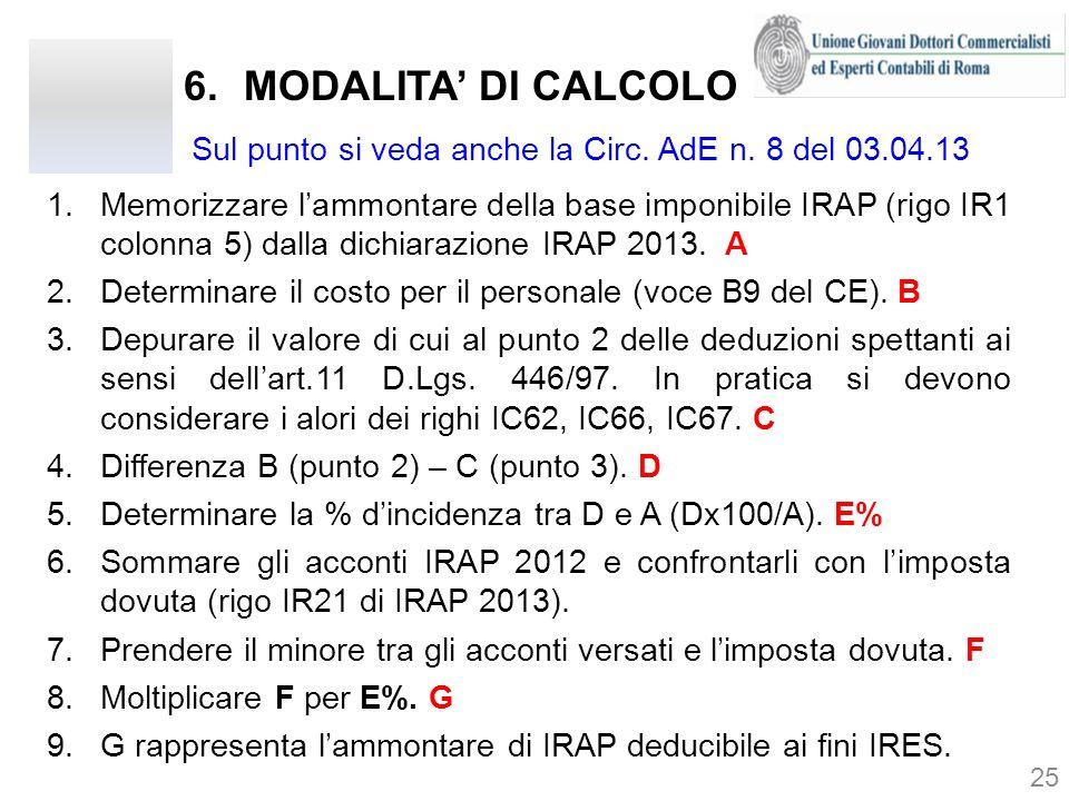 6.MODALITA DI CALCOLO 25 1.Memorizzare lammontare della base imponibile IRAP (rigo IR1 colonna 5) dalla dichiarazione IRAP 2013. A 2.Determinare il co