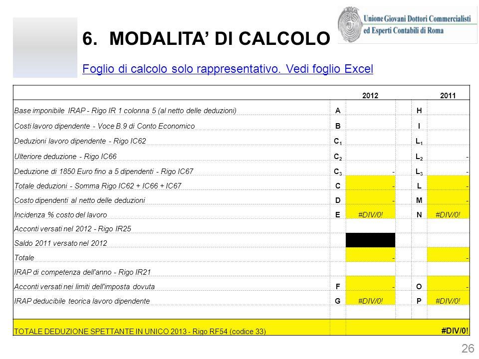 6.MODALITA DI CALCOLO 26 2012 2011 Base imponibile IRAP - Rigo IR 1 colonna 5 (al netto delle deduzioni)A H Costi lavoro dipendente - Voce B.9 di Cont