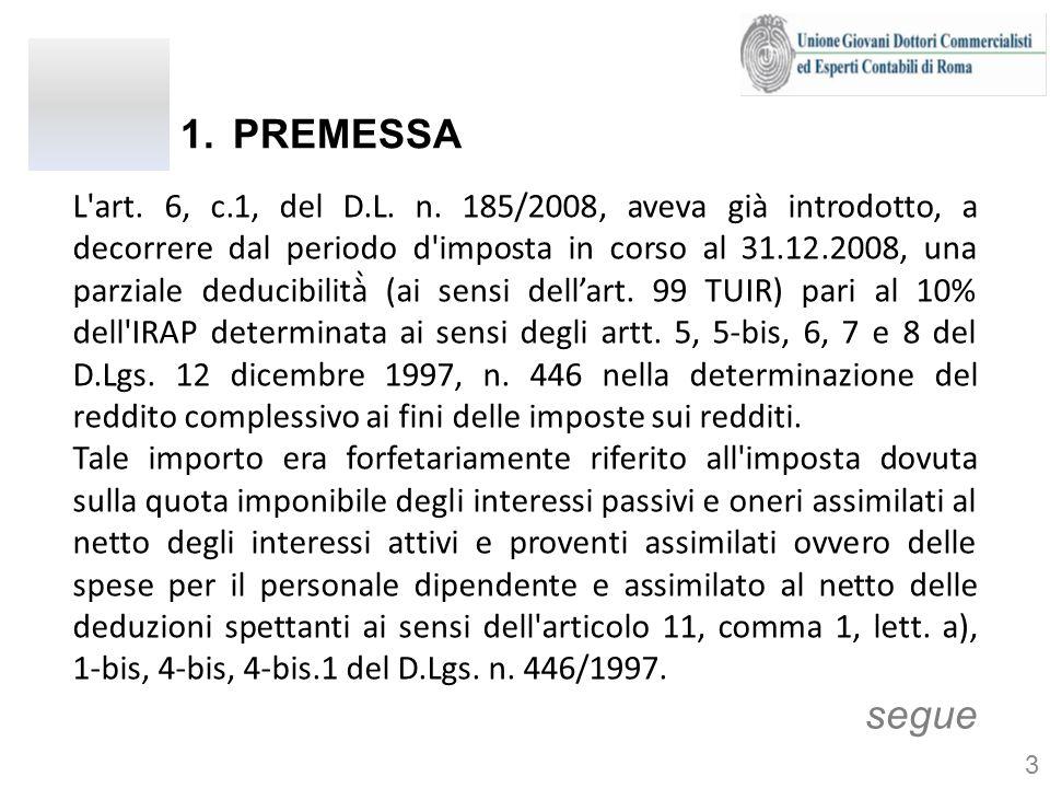1.PREMESSA L'art. 6, c.1, del D.L. n. 185/2008, aveva già introdotto, a decorrere dal periodo d'imposta in corso al 31.12.2008, una parziale deducibi