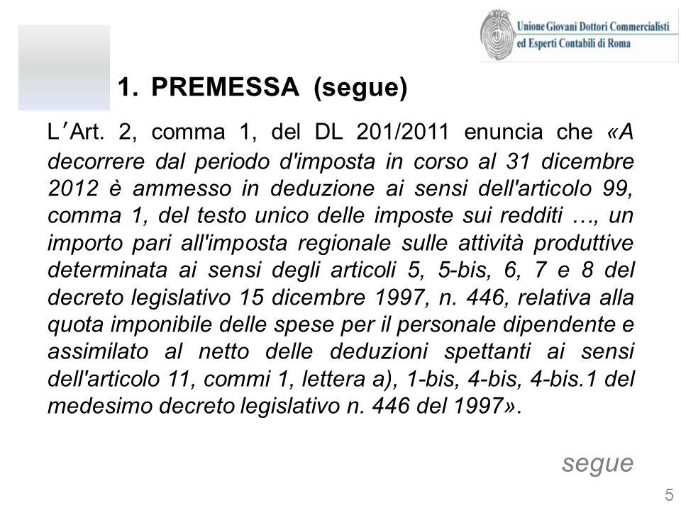 1.PREMESSA (segue) LArt. 2, comma 1, del DL 201/2011 enuncia che «A decorrere dal periodo d'imposta in corso al 31 dicembre 2012 è ammesso in deduzion