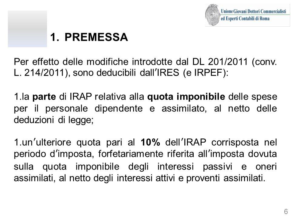 Per effetto delle modifiche introdotte dal DL 201/2011 (conv. L. 214/2011), sono deducibili dallIRES (e IRPEF): 1.la parte di IRAP relativa alla quota