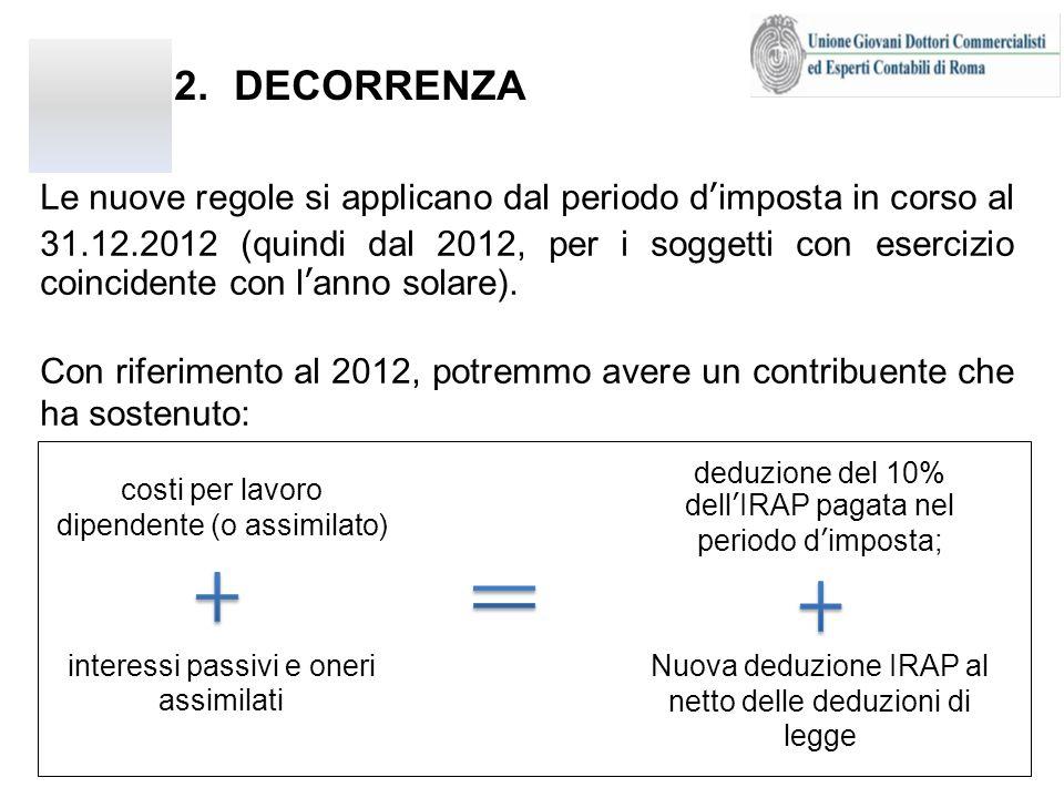 2.DECORRENZA (segue) deduzione del 10% dellIRAP pagata nel periodo dimposta; interessi passivi e oneri assimilati costi per lavoro dipendente (o assimilato) Nuova deduzione IRAP al netto delle deduzioni di legge