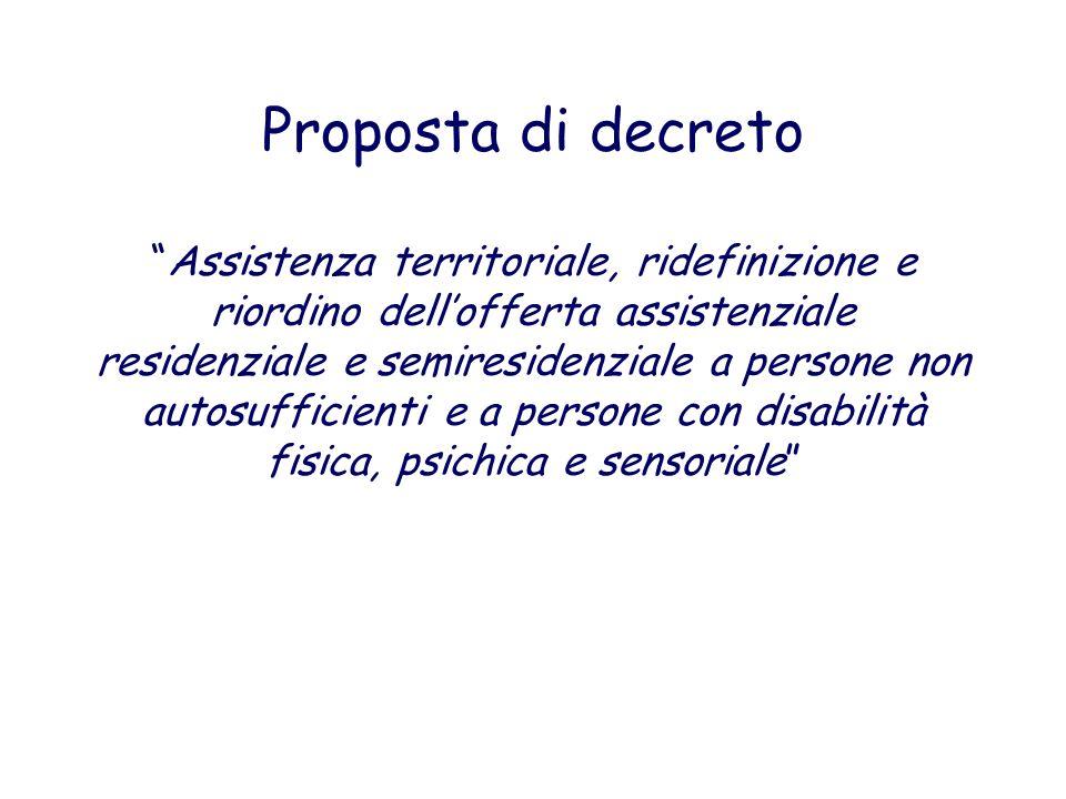 Proposta di decretoAssistenza territoriale, ridefinizione e riordino dellofferta assistenziale residenziale e semiresidenziale a persone non autosuffi