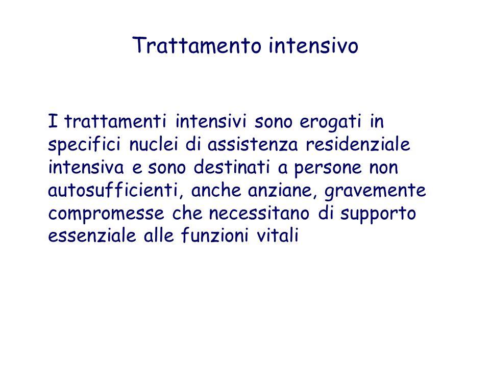 Trattamento intensivo I trattamenti intensivi sono erogati in specifici nuclei di assistenza residenziale intensiva e sono destinati a persone non aut