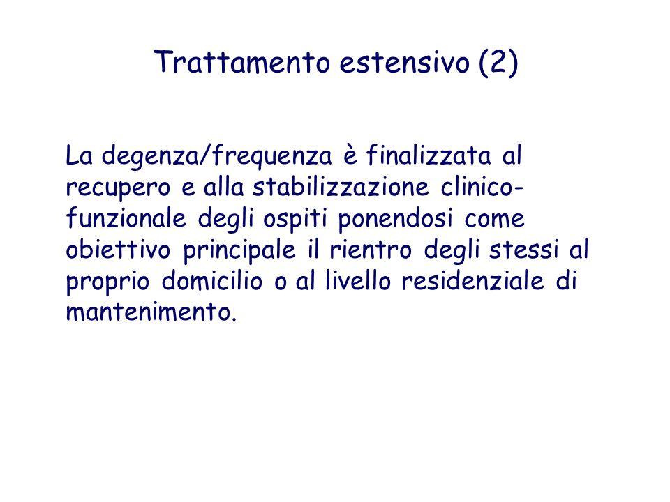 Trattamento estensivo (2) La degenza/frequenza è finalizzata al recupero e alla stabilizzazione clinico- funzionale degli ospiti ponendosi come obiett