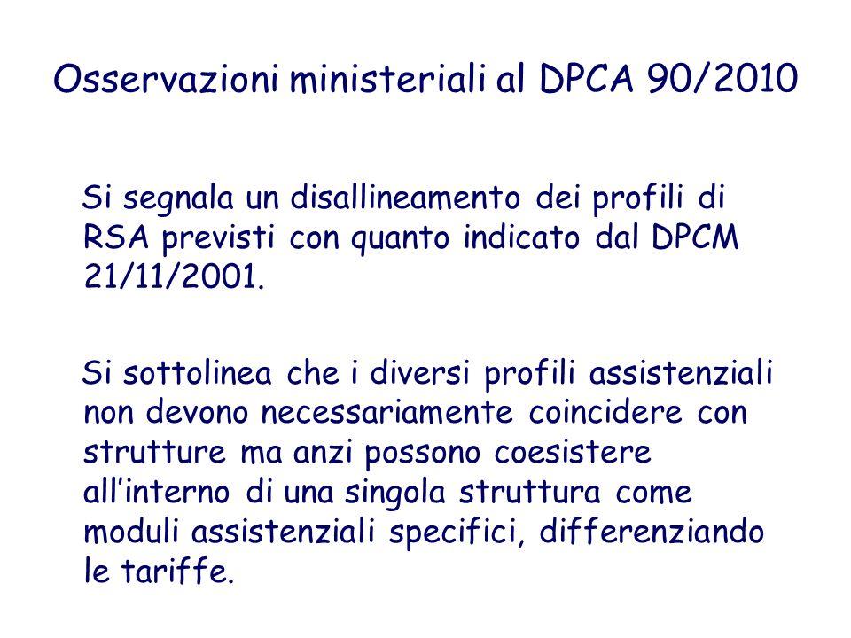 Osservazioni ministeriali al DPCA 90/2010 Si segnala un disallineamento dei profili di RSA previsti con quanto indicato dal DPCM 21/11/2001. Si sottol