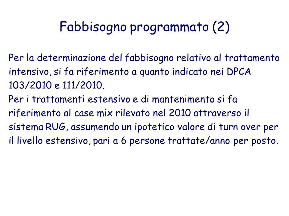 Per la determinazione del fabbisogno relativo al trattamento intensivo, si fa riferimento a quanto indicato nei DPCA 103/2010 e 111/2010. Per i tratta