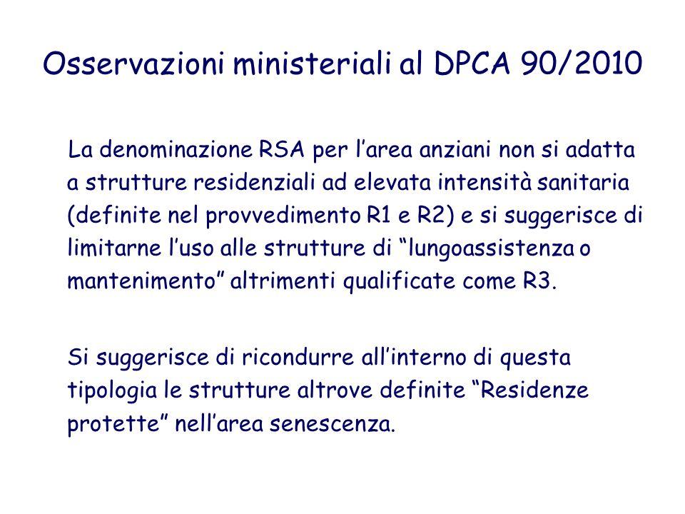 Osservazioni ministeriali al DPCA 90/2010 La denominazione RSA per larea anziani non si adatta a strutture residenziali ad elevata intensità sanitaria