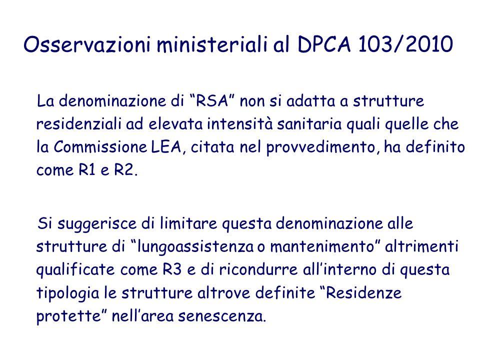 Osservazioni ministeriali al DPCA 103/2010 La denominazione di RSA non si adatta a strutture residenziali ad elevata intensità sanitaria quali quelle