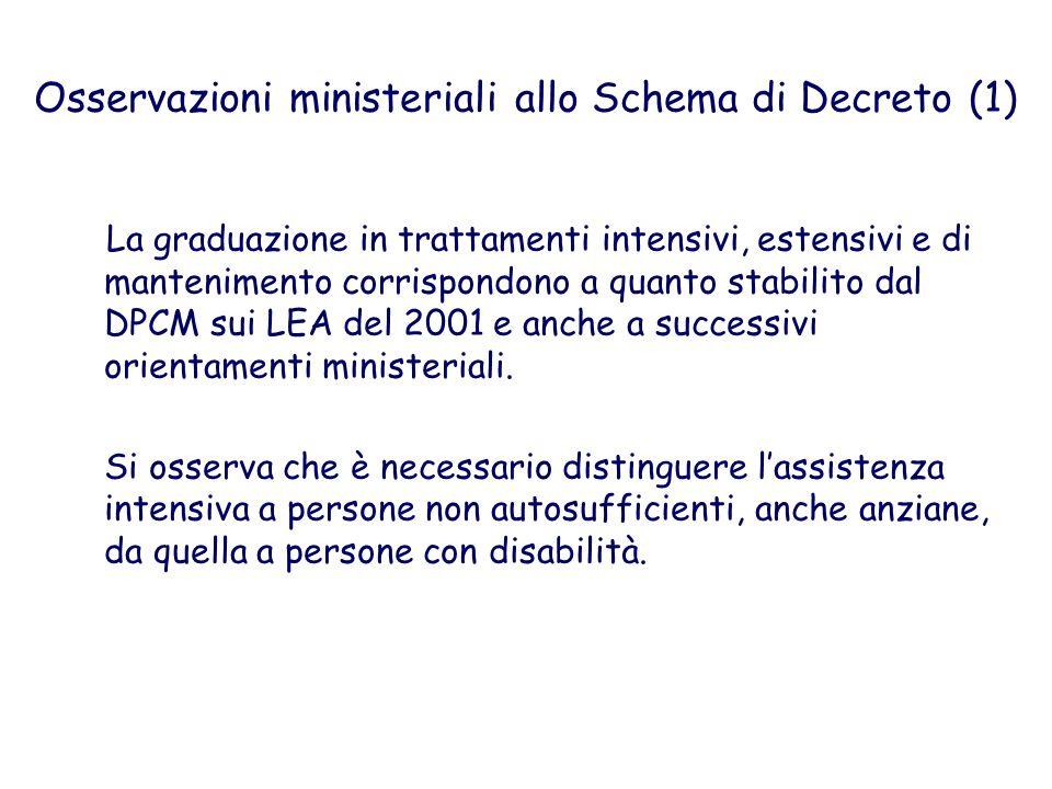Osservazioni ministeriali allo Schema di Decreto (1) La graduazione in trattamenti intensivi, estensivi e di mantenimento corrispondono a quanto stabi