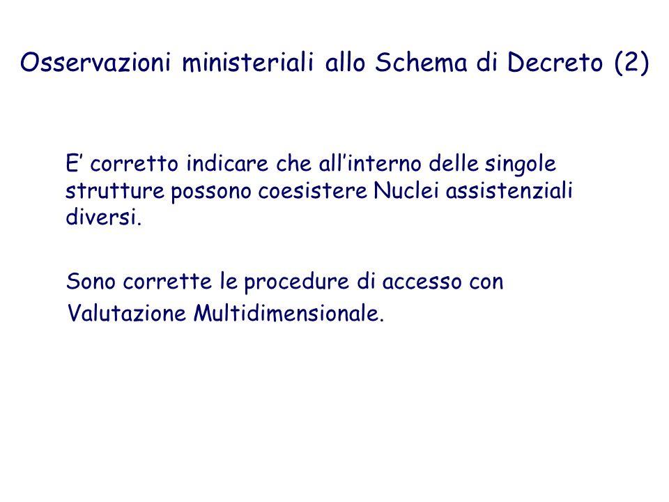 Osservazioni ministeriali allo Schema di Decreto (2) E corretto indicare che allinterno delle singole strutture possono coesistere Nuclei assistenzial